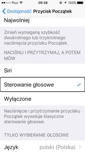 Zrzut ekranu Ustawień iOS10.2 odpowiedzialnych za włączanie Sterowania Głosowego
