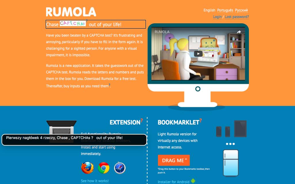 Zrzut ekranu ze strony głównej projektu Rumola
