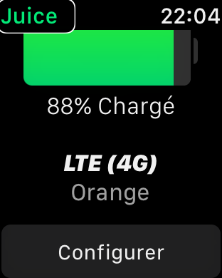 Zrzut ekranu z Apple Watch - Okno z informacją o poziomie naładowania bateri iPhone oraz nazwą operatora i rodzajem transmisji