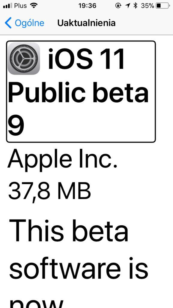 Zrzut ekranu z iPhone - Widok zakładki Uaktualnienia z informacją o dostępności dziewiątej bety iOS11