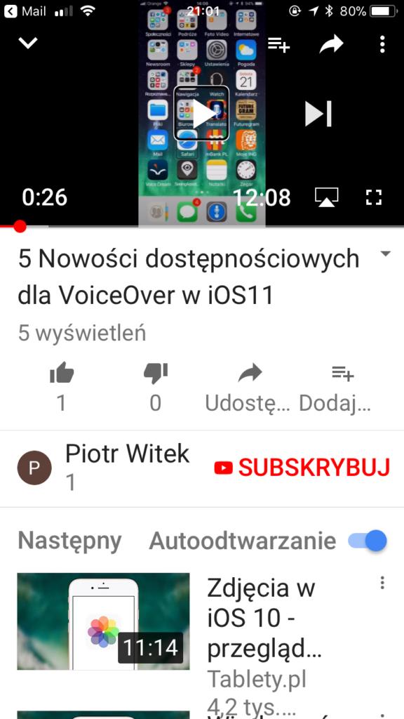 Zrzut ekranu - Widok aplikacji YouTube z kadrem filmu zawierającym ekran główny mojego telefonu