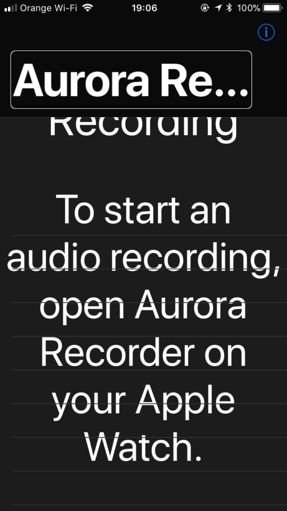 Zrzut ekranu z telefonicznej wersji aplikacji Aurora Recorder