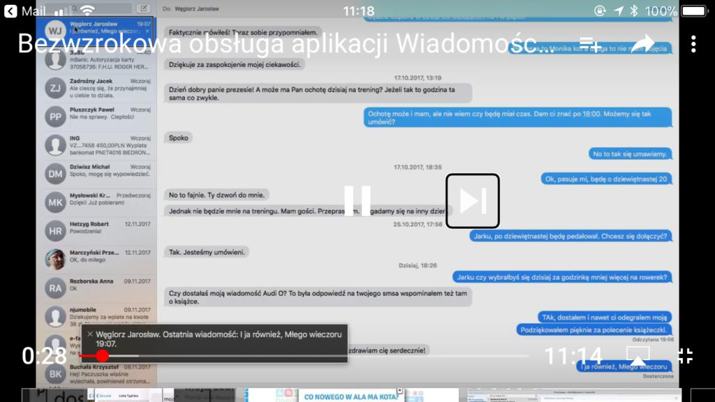 Kadr z videocastu pokazujący okno aplikacji Wiadomości w systemie macOS High Sierra