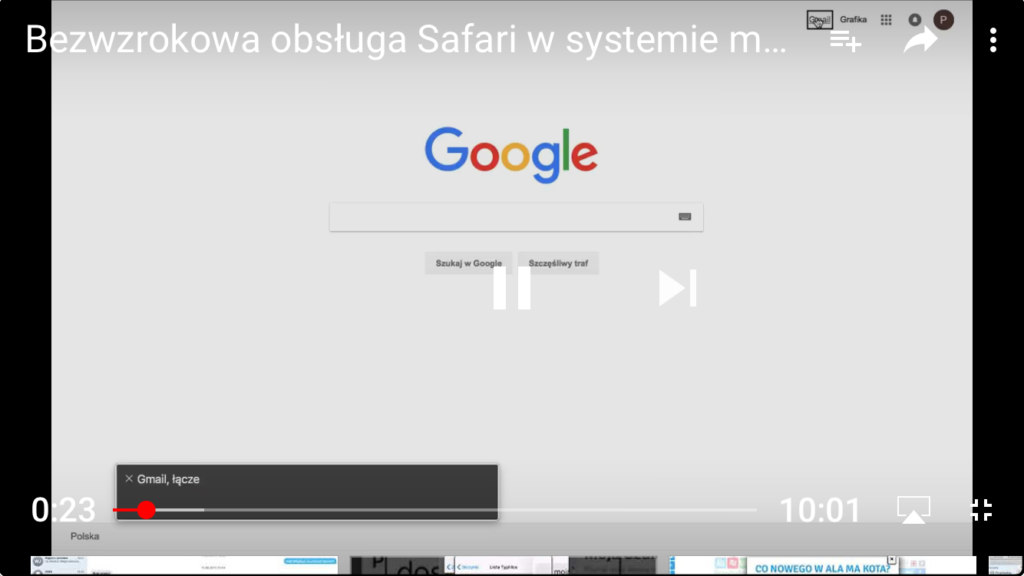 Kadr z nagrania przedstawiający okno przeglądarki Safari