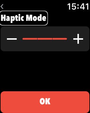 Zrzut ekranu z Apple Watch – Wybór sekwencji wibracji w aplikacji Little Ben