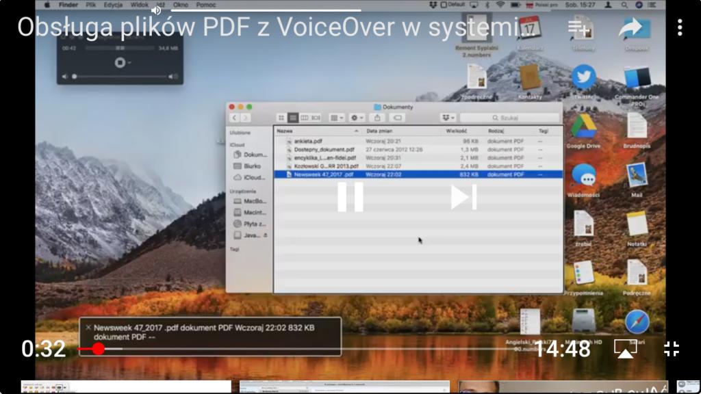Kadr z nagrania demonstrujący okno komputera z otwartą aplikacją Finder oraz QuickTime