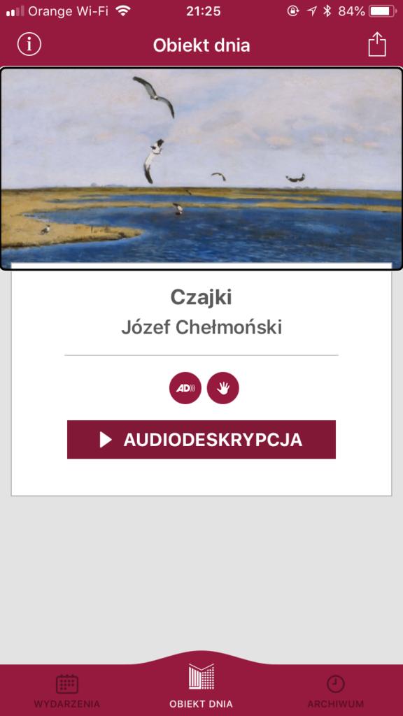 Zrzut ekranu z obiektem dnia, obrazem Józefa Chełmońskiego - Czajki