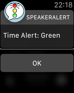 Zrzut ekranu z Apple Watch – Ostrzeżenie zielone