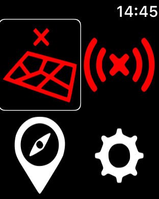 Zrzut ekranu z Apple Watch - Główny ekran programu, zawierający 4 ikony