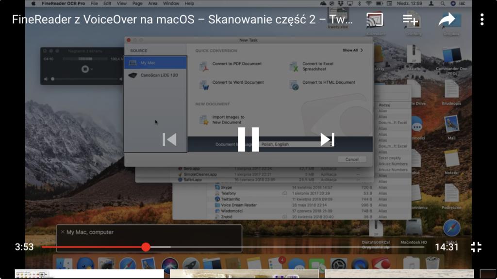 Kadr z nagrania z otwartym oknem aplikacji FineReader
