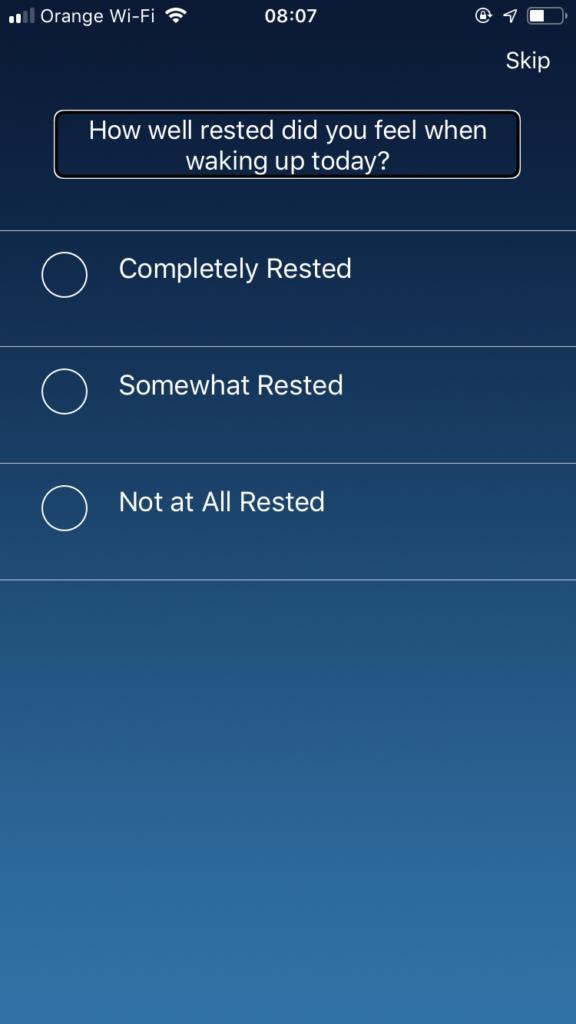 Zrzut ekranu z iPhone - Zapytanie o poziom naszego wypoczęcia