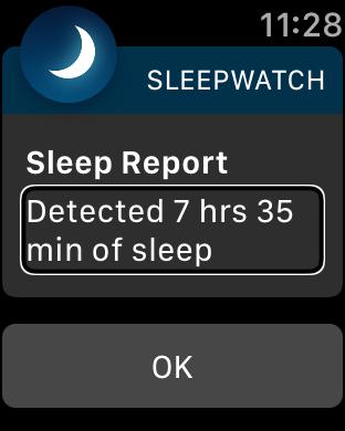 Zrzut ekranu z Apple Watch - Informacja o długości snu