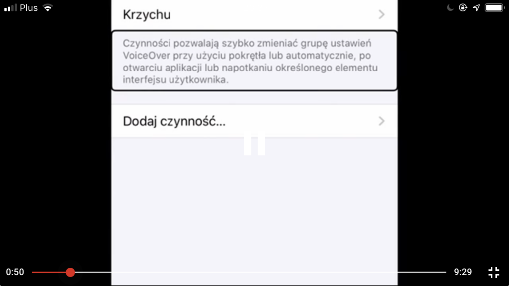 Zrzut ekranu - Fokus VoiceOver podświetla definicję funkcji Czynności