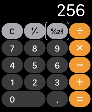 Zrzut ekranu z Apple Watch - Okno Kalkulatora z wpisaną liczbą 256 i podświetlonym przyciskiem Napiwek.
