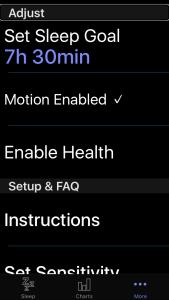 Zrzut ekranu - Zakładka More w aplikacji SleepPulse