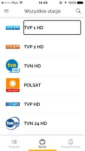 Zrzut ekranu - Lista dostępnych stacji