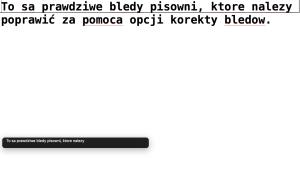 Zrzut ekranu - Błędy pisowni podkreślone w edytorze TextEdit