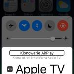 Zrzut ekranu z Centrum Sterowania iPhone - Klonowanie AirPlay - Wyświetlona lista urządzeń obsługujących protokół AirPlay