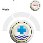 Zrzut ekranu - Dwa przyciski aplikacji - SMS i Woda