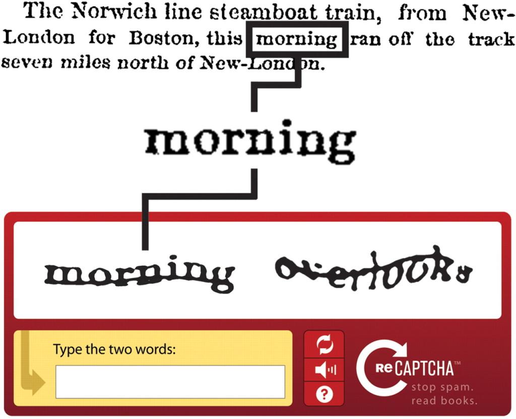 """Przykładowy kod CAPTCHA oraz demonstracja jego tworzenia na bazie starodruków w serwisie ReCAPTCHA. Słowa """"morning overlooks"""" są rozciągnięte i przekreślone aby utrudnić użytkownikowi ich odczytanie."""