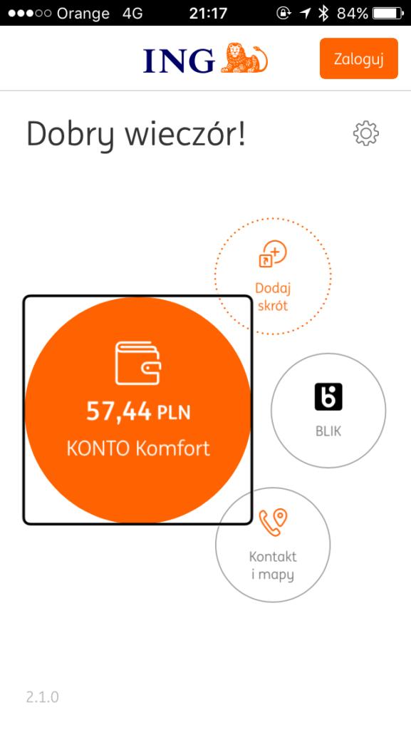 Zrzut ekranu - Ekran startowy w mobilnej aplikacji Moje ING