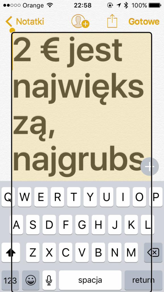 Zrzut ekranu z iPhone - Otwarta aplikacja Notatki z zaznaczonymi dwoma liniami tekstu