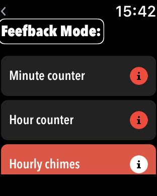 Zrzut ekranu z Apple Watch – wybór trybów pracy aplikacji Little Ben