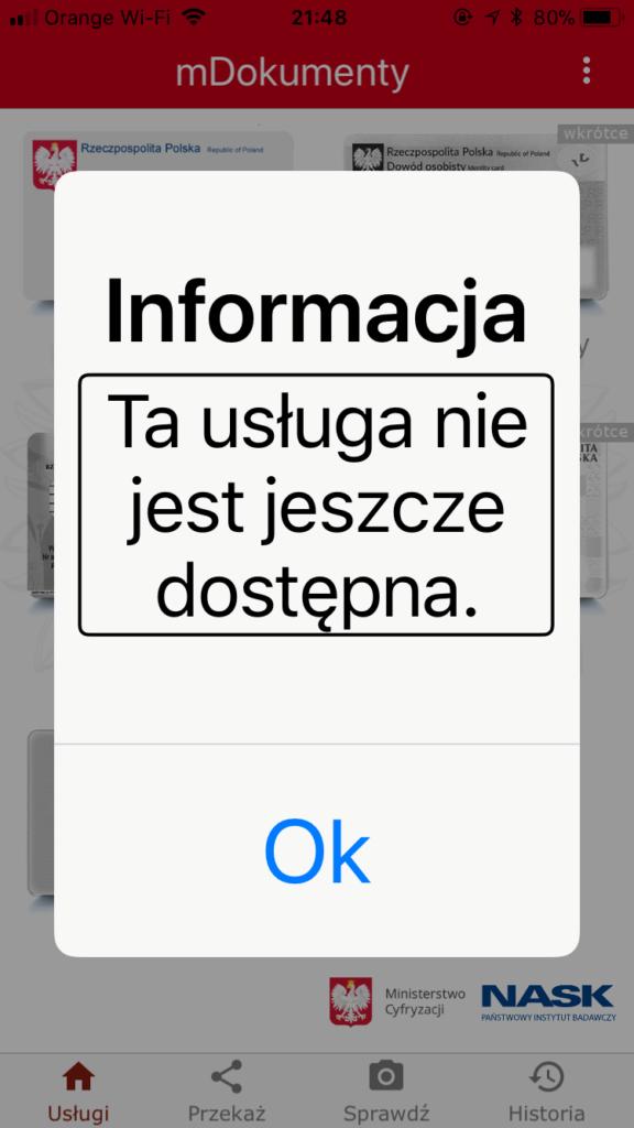 Zrzut ekranu z programu mObywatel – Komunikat: Ta usługa nie jest jeszcze dostępna