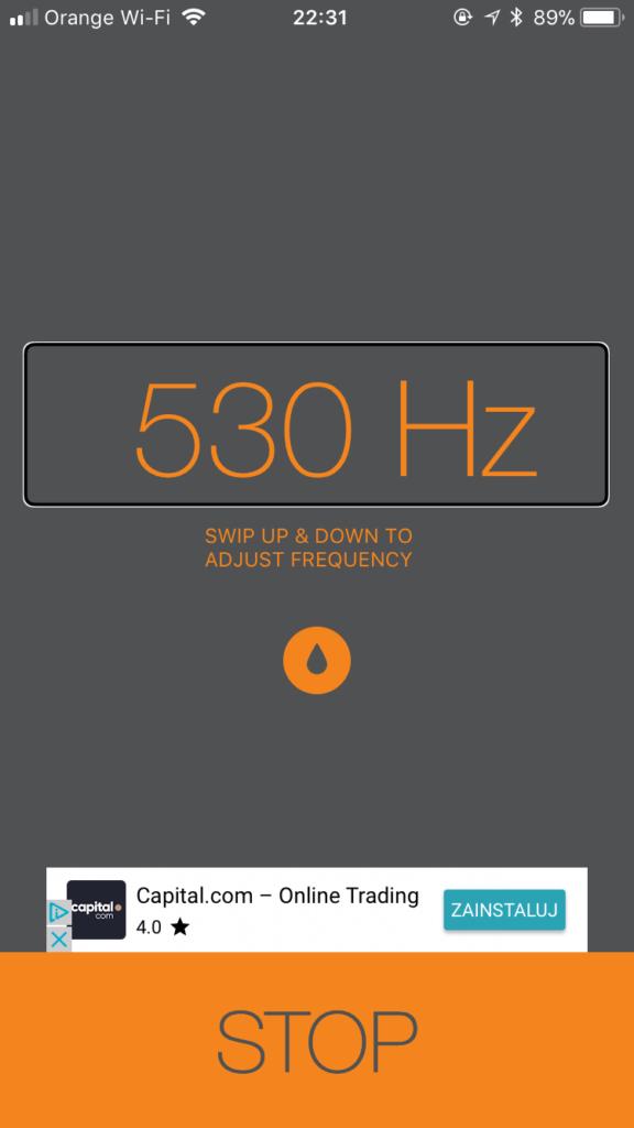 Zrzut ekranu z iPhone - Aplikacja Sonic z wybraną częstotliwością 530Hz