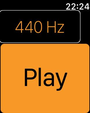 Zrzut ekranu z Apple Watch - Suwak z częstotliwością 440Hz oraz przycisk Play