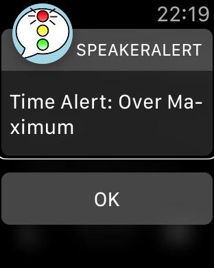 Zrzut ekranu z Apple Watch – Ostrzeżenie Over Maximum.