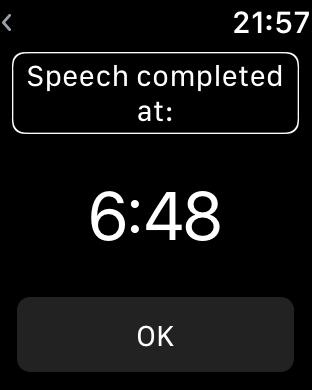 Zrzut ekranu z Apple Watch – Informacja o ukończeniu odliczania czasu przemówienia