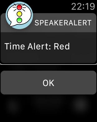 Zrzut ekranu z Apple Watch – Ostrzeżenie czerwone.