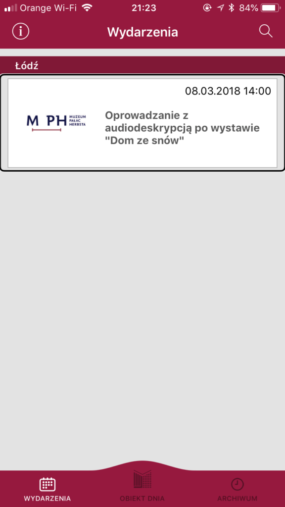 Zrzut ekranu przedstawiający zaproszenie na zwiedzanie z audiodeskrypcją