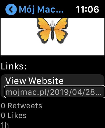 Zrzut ekranu z Apple Watch - Widok tweeta w aplikacji Chirp