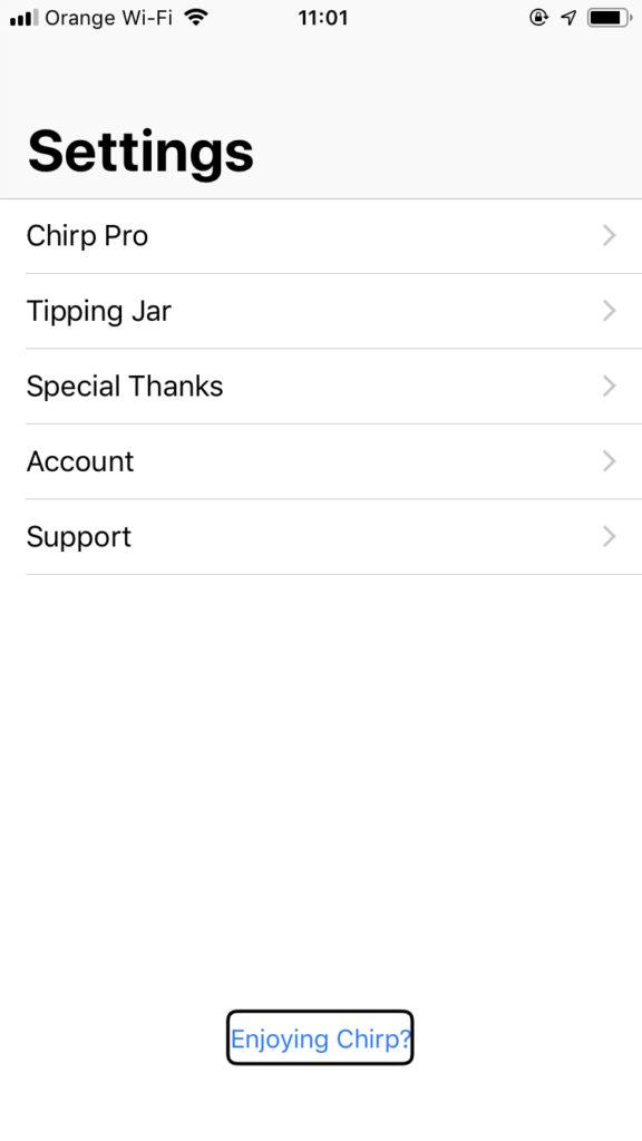 Zrzut ekranu z iPhone - Okno ustawień aplikacji Chirp