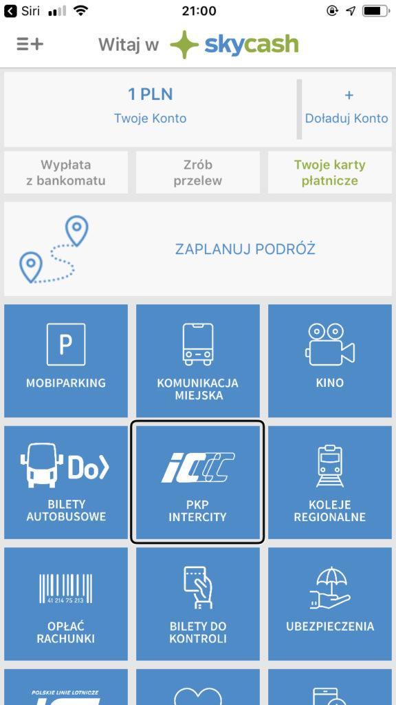 Zrzut ekranu z programu SkyCash - Ekran główny aplikacji, na którym znajdują się kafelki poszczególnych opcji