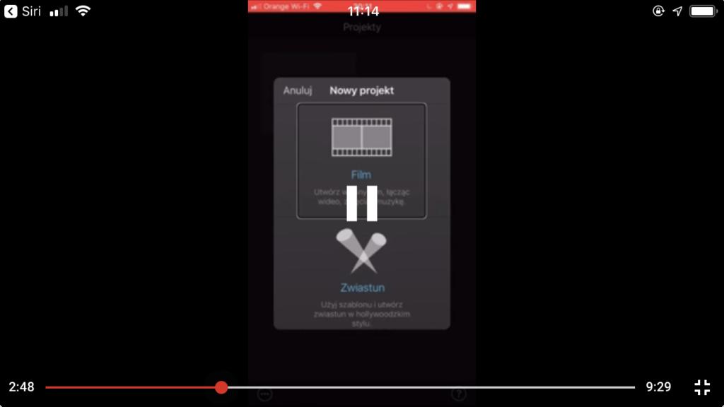 Kadr z nagrania - Widok wyboru rodzaju projektu w iMovie