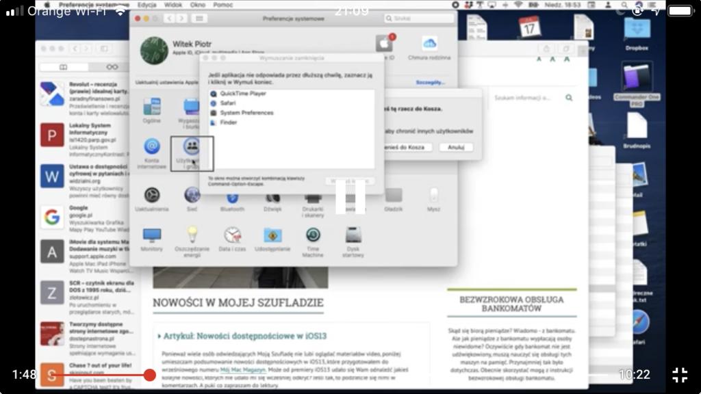 Kadr z nagrania - Preferencje Systemowe w systemie macOS