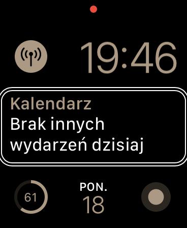 Zrzut ekranu z Apple Watch - Widok tarczy Moduły, prezentującej m.in. poziom naładowania baterii i datę