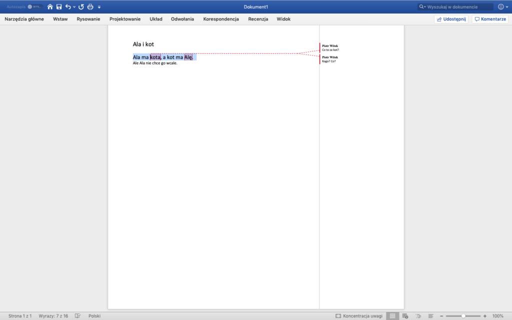 Zrzut ekranu - MS Word w systemie macOS - Otwarte okno dokumentu z komentarzami w treści tekstu