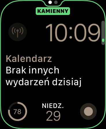 Zrzut ekranu z Apple Watch - Edycja tarczy o nazwie Moduły