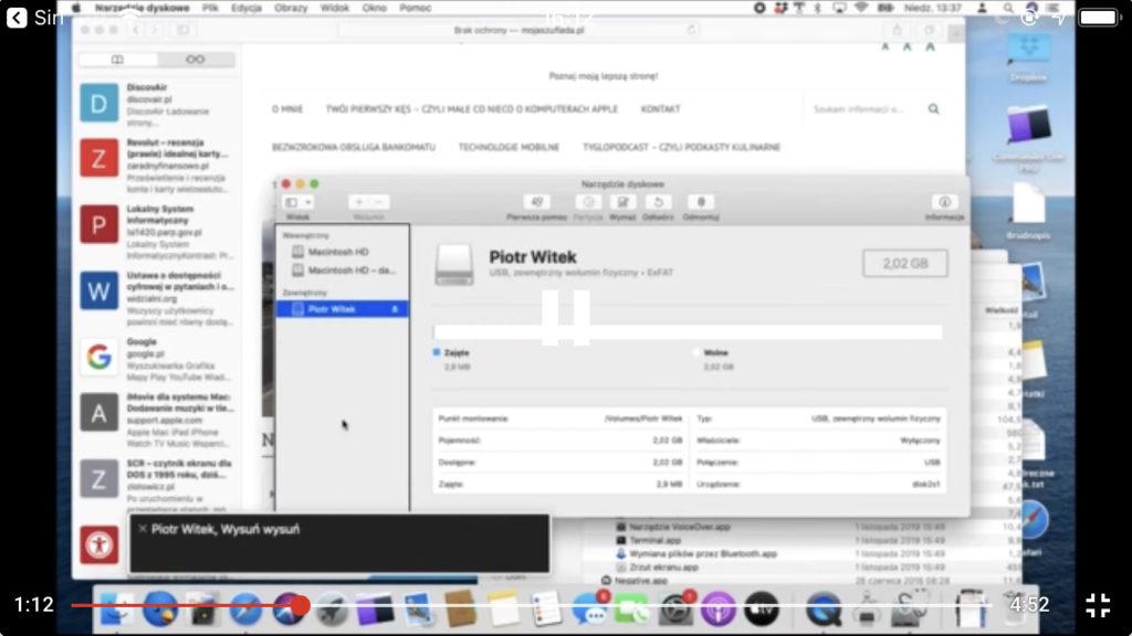 Kadr z nagrania - Widok narzędzia dyskowego z listą nośników pamięci podłączonych do komputera