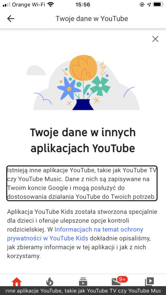 Zrzut ekranu z iPhone - Widok okna Twoje dane winnych aplikacjach YouTube
