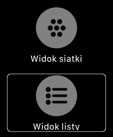 Zrzut ekranu z Apple Watch - Widok sposobu wyświetlania aplikacji po użyciu gestu Force Touch