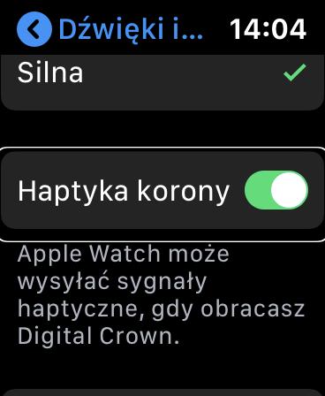Zrzut ekranu z Apple Watch - Podświetlona i zaznaczona opcja Haptyka Korony.