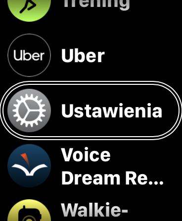 Zrzut ekranu z Apple Watch - Lista aplikacji z podświetloną pozycją Ustawienia