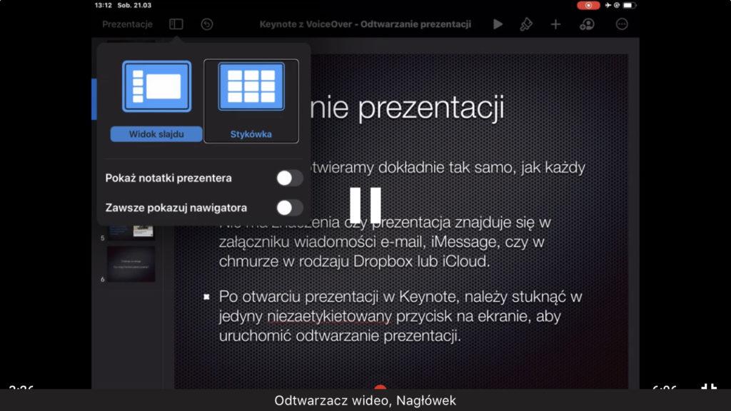 Kadr z nagrania - Opcje Widoku w mobilnej aplikacji Keynote