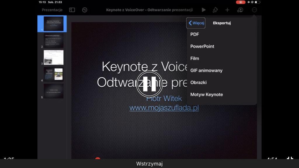 Kadr z nagrania - Widok ustawień eksportu w mobilnej aplikacji Keynote