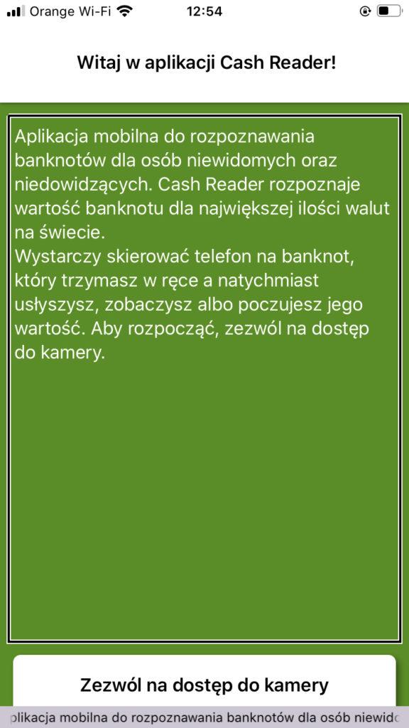 Zrzut ekranu z iPhone, przedstawiający okno samouczka aplikacji Cash Reader, zawierające powyższy tekst